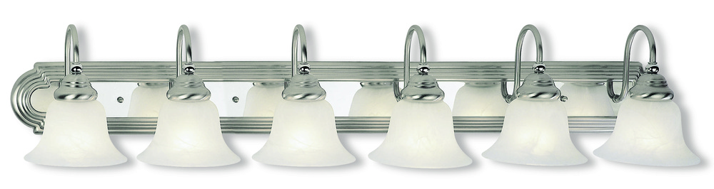 6 Light BN & Polished Chrome Bath Light