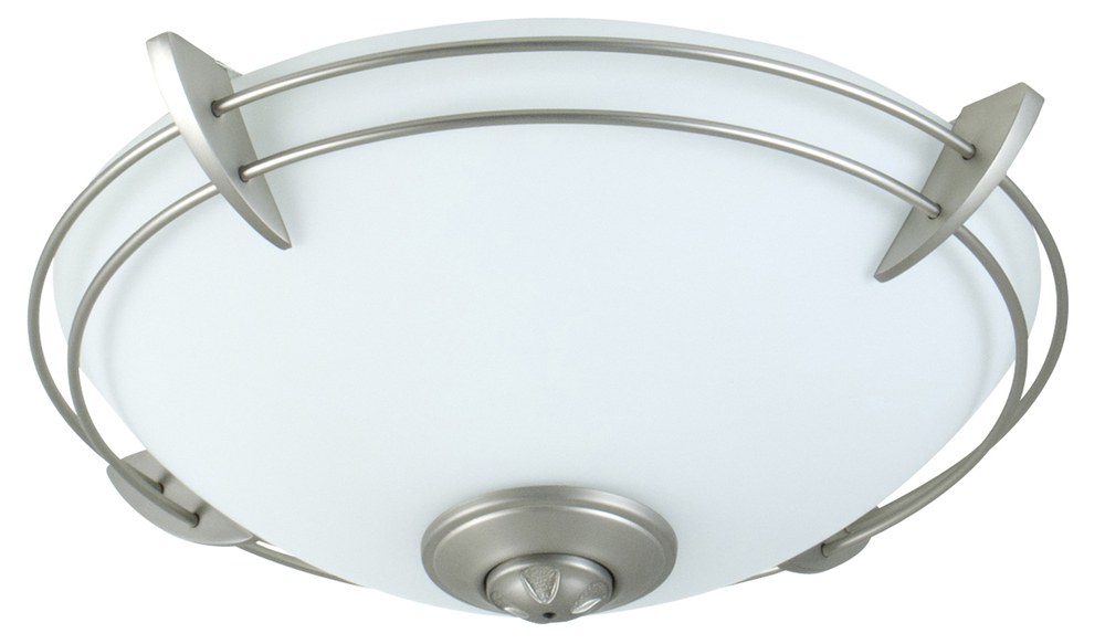 2 Light Bowl Fan Light Kit in Brushed Satin Nickel with Opal Frost Glass