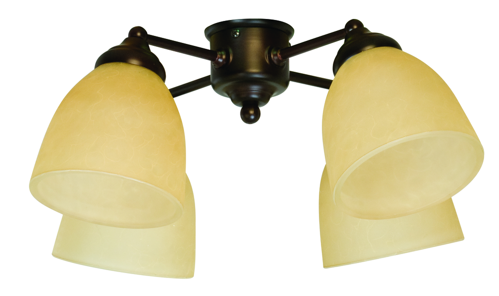 4 Light Universal Fan Light Kit in Aged Bronze Textured with Tea-Stained Glass