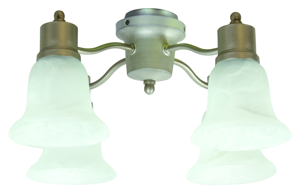 4 Light Universal Fan Light Kit in Brushed Satin Nickel with Alabaster Glass