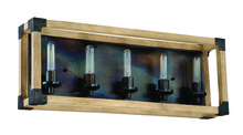 Craftmade 41505-FSNW - Cubic 5 Light Vanity in Fired Steel with Natural Wood