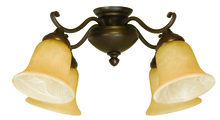 Craftmade LK405CFL-AG - 4 Light Universal Fan Light Kit in Aged Bronze Textured with Tea-Stained Glass