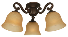 Craftmade LK49CFL-AG - 3 Light Universal Fan Light Kit in Aged Bronze Textured with Tea-Stained Glass