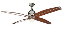 "Craftmade TRD60PLN4 - Tyrod 60"" Ceiling Fan with Blades and LED Light Kit in Polished Nickel"