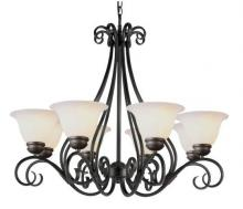 Trans Globe 6398-1 PW - Eight Light Pewter White Marbleized Glass Up Chandelier