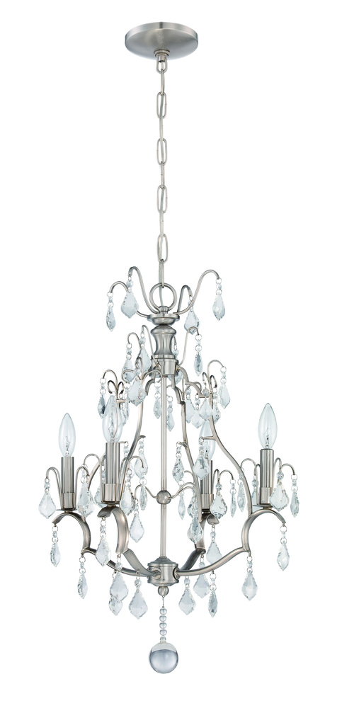 4 Light Mini Chandelier in Brushed Nickel