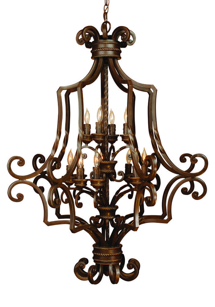 Riata 12 Light Cage Foyer in Aged Bronze Textured