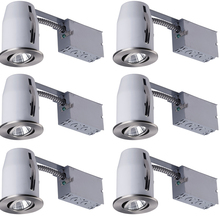 "Canarm RN3RC1BPT-6C - Recessed, RN3RC1 BPT-6C, 3"" Non-Insulated Remodel, Gimbal Trim, 6 Pack, GU10 Bulb (6 Included)"